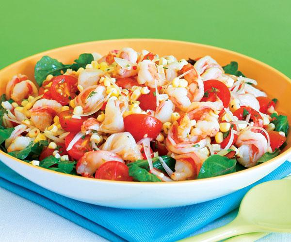 Скариди, домати, царевица