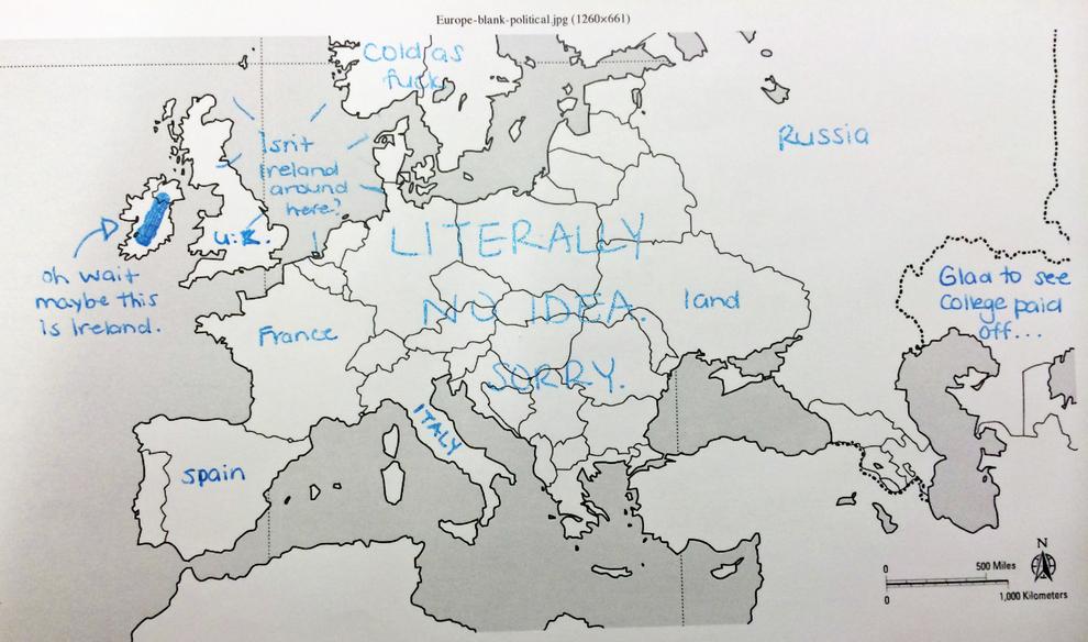 Американци се опитват да обозначат държавите на картата на Европа