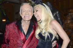 Playboy Magazine founder Hugh Hefner and Crystal Harris at Playbory Halloween party