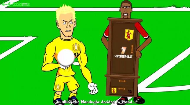 Дербито на Манчестър в анимационен вариант (ВИДЕО)