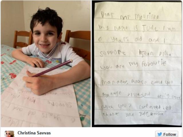 Моуриньо изненада 6-годишното хлапе, което му прати писмо (СНИМКИ)