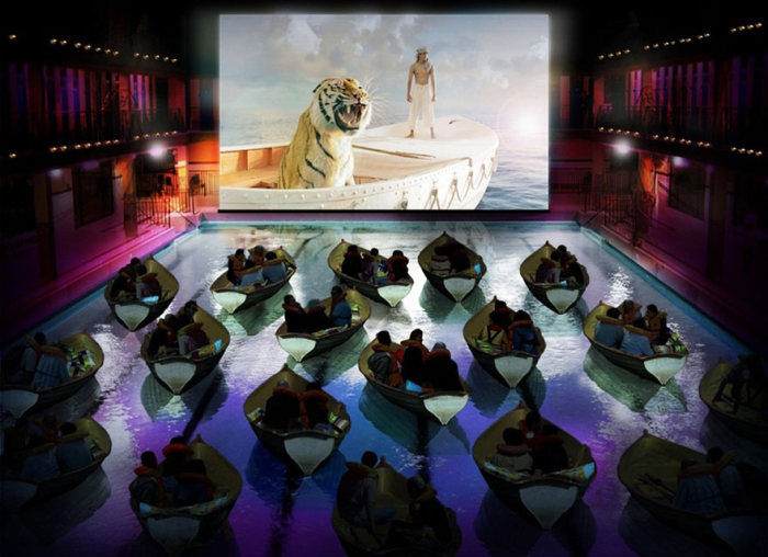 Легла, лодки и още удобства в най-яките киносалони в света (СНИМКИ)
