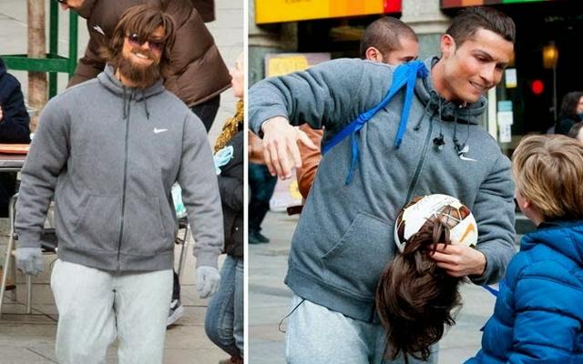 """""""Арогантният"""" Кристиано се превъплъти в бездомник (ВИДЕО)"""