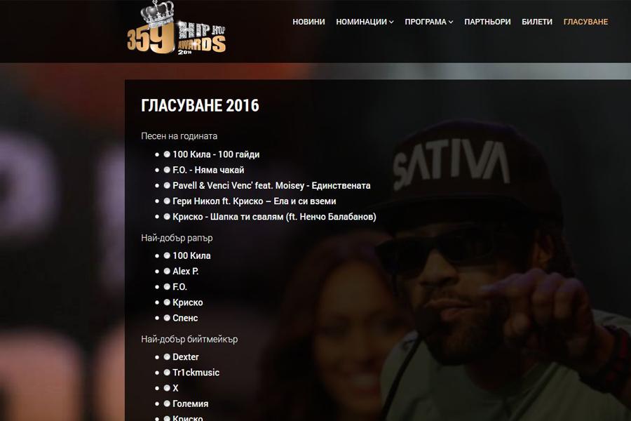 Започна онлайн гласуването за 359 Hip Hop Awards 2016