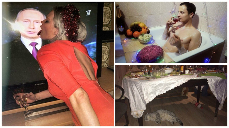 Бити, пияни и с кофа руска салата. Така руснаците изкараха празниците (СНИМКИ)