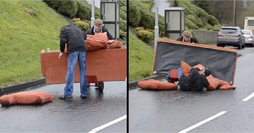 Пияни ирландци пренасят диван (ВИДЕО)