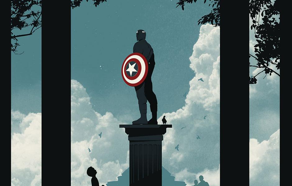 Вдигат статуя на Капитан Америка