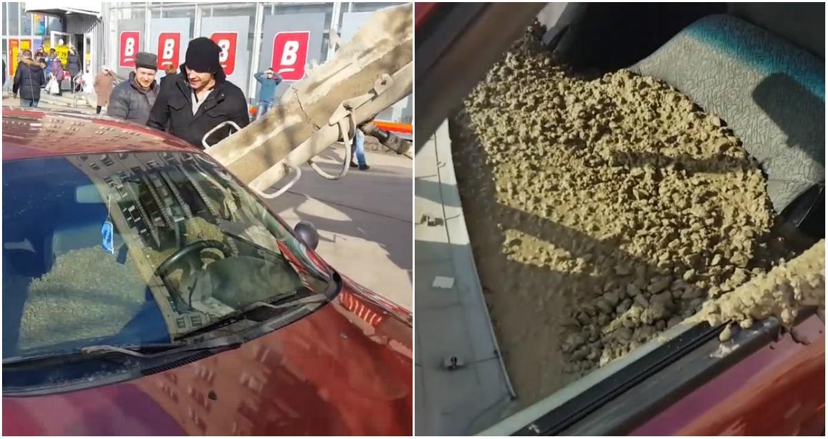 Гневен мъж напълни колата на жена си с бетон заради сменена фамилия (ВИДЕО)