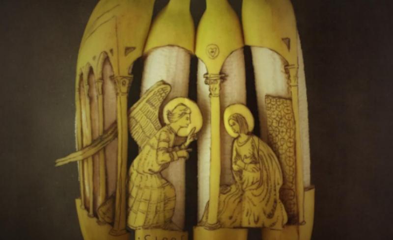 Да правиш изкуство от банани (СНИМКИ)