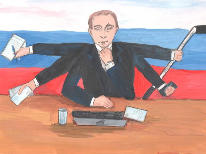 На конкурс в Русия: Деца рисуват Путин