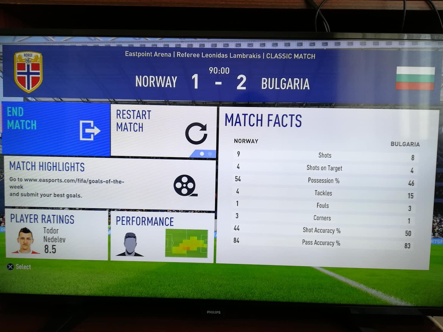 Бихме Норвегия на FIFA 19 с гол на Неделев (Петела коментира)