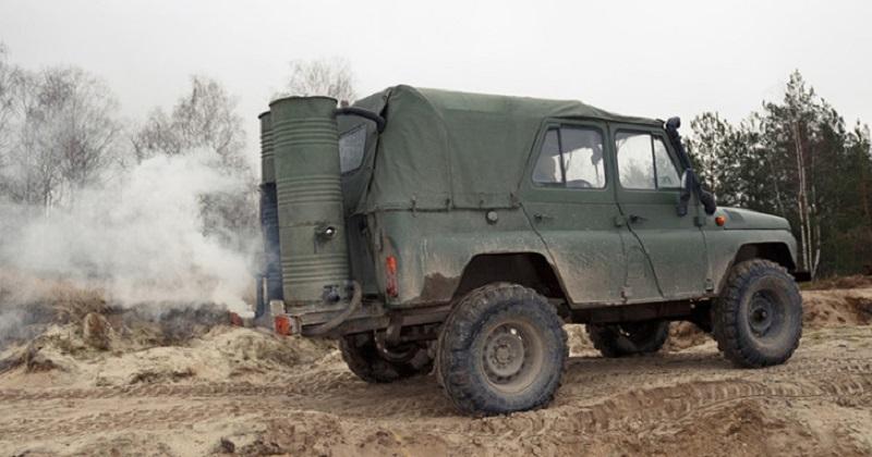20 кг на 100 км: UAZ работи на дърва за огрев