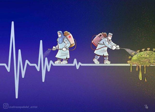 Много силни илюстрации, посвенени на лекарите, борещи се с коронавируса