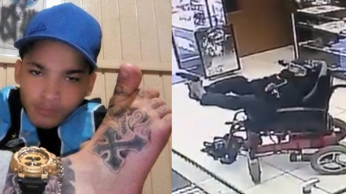 Най-безумният обир: Инвалид заплаши продавач с пистолет, насочен с крак (ВИДЕО)