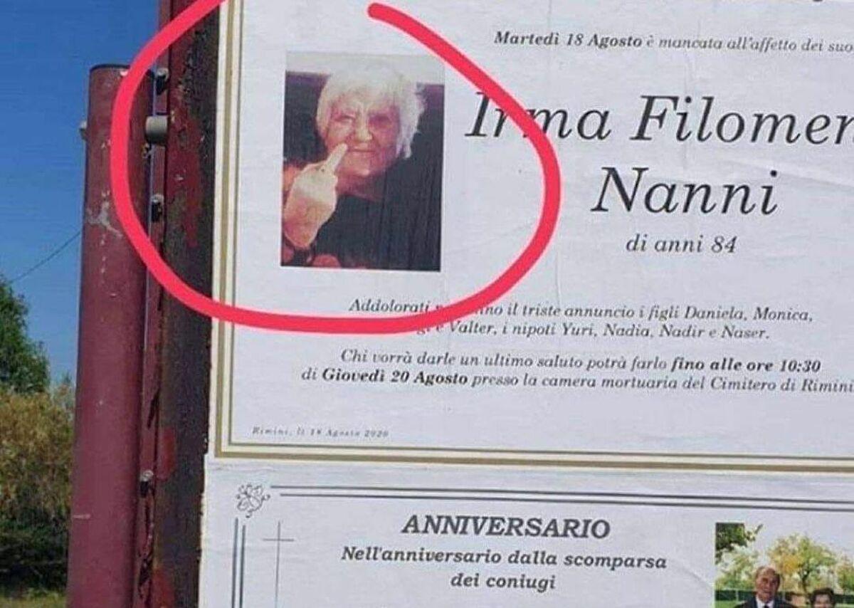 Некролог на баба, показваща среден пръст, стана хит в социалните мрежи