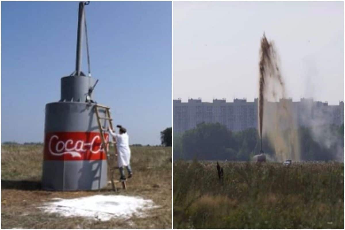 Експеримент: 10 хил. литра Кока-Кола срещу Ментос (ВИДЕО)